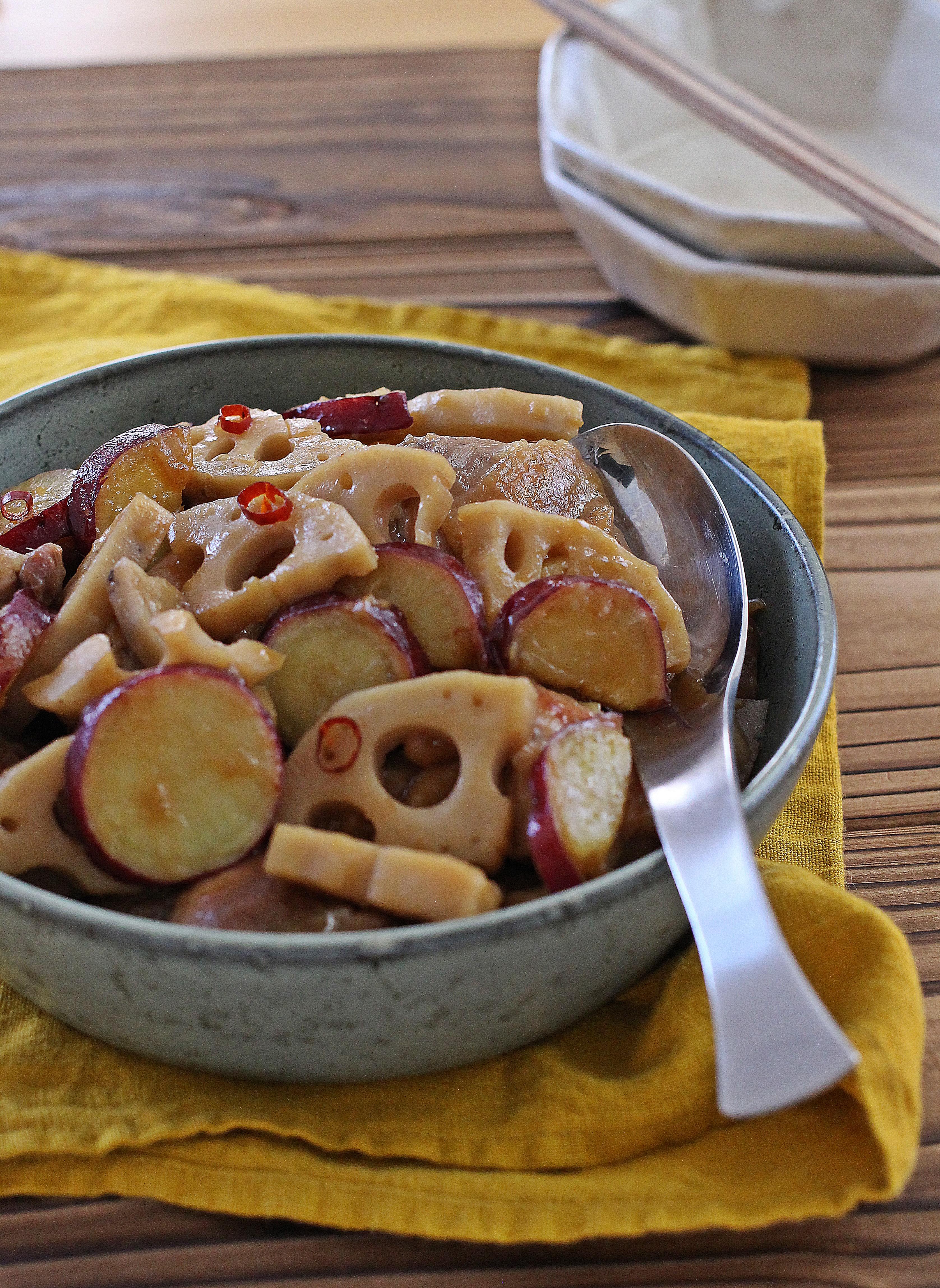 【連載:読売新聞ヨミドクター】鶏とレンコンとサツマイモの甘辛煮&昨夜
