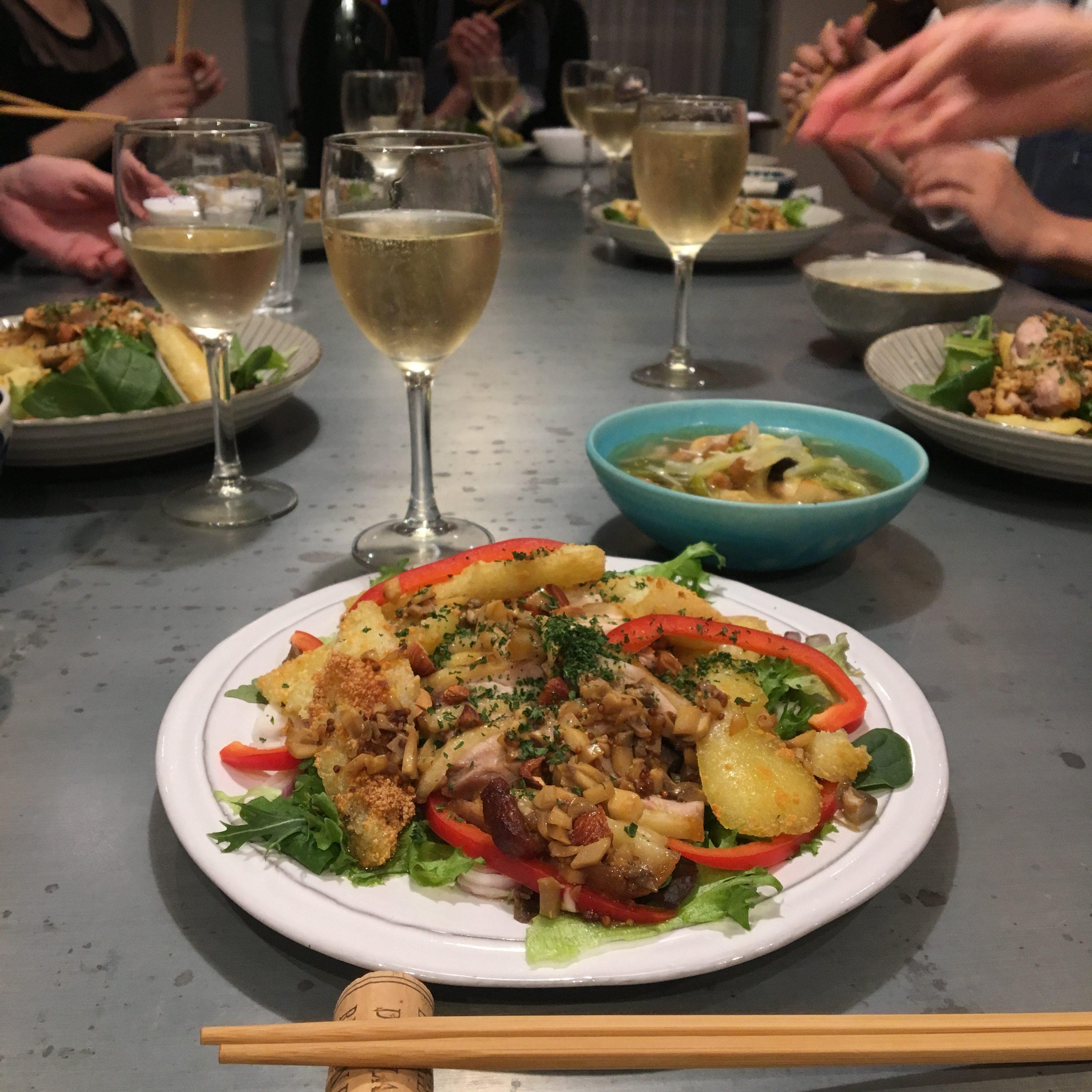 【料理講師】比内地鶏応援企画&秋田アンテナショップでメニュー化「比内地鶏のきりたんぽサラダ」